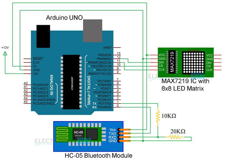Arduino 8x8 led matrix circuit diagram qtjmsd394n