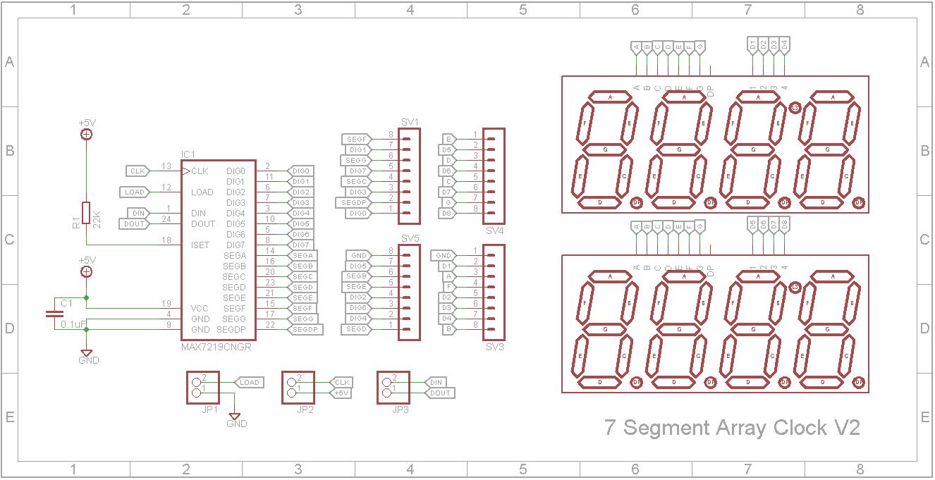 7 segment array clock   matrix segment dxr1lfsmcf