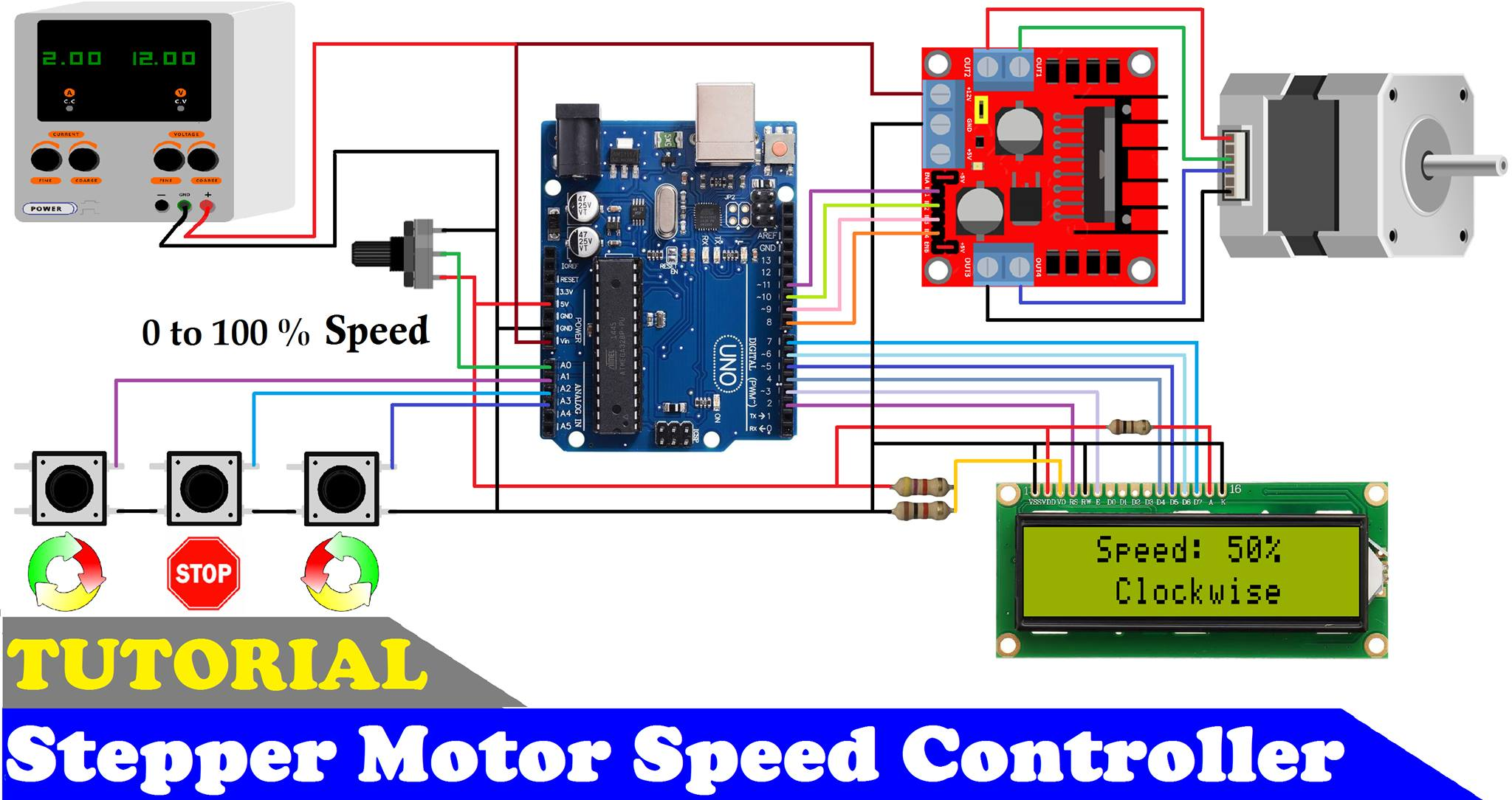How to make a stepper motor speed controller using arduino and l298 motor drive fxtu8mgrq2