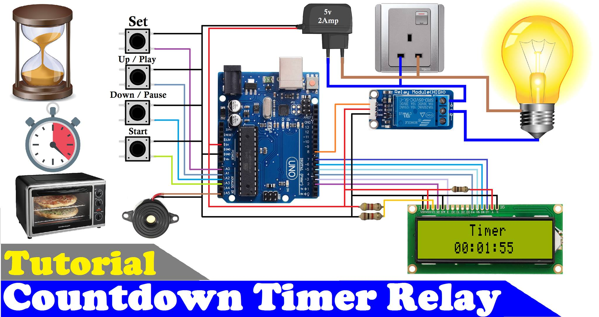 How to make countdown timer relay using arduino and 16x2 lcd display r3otled0j4