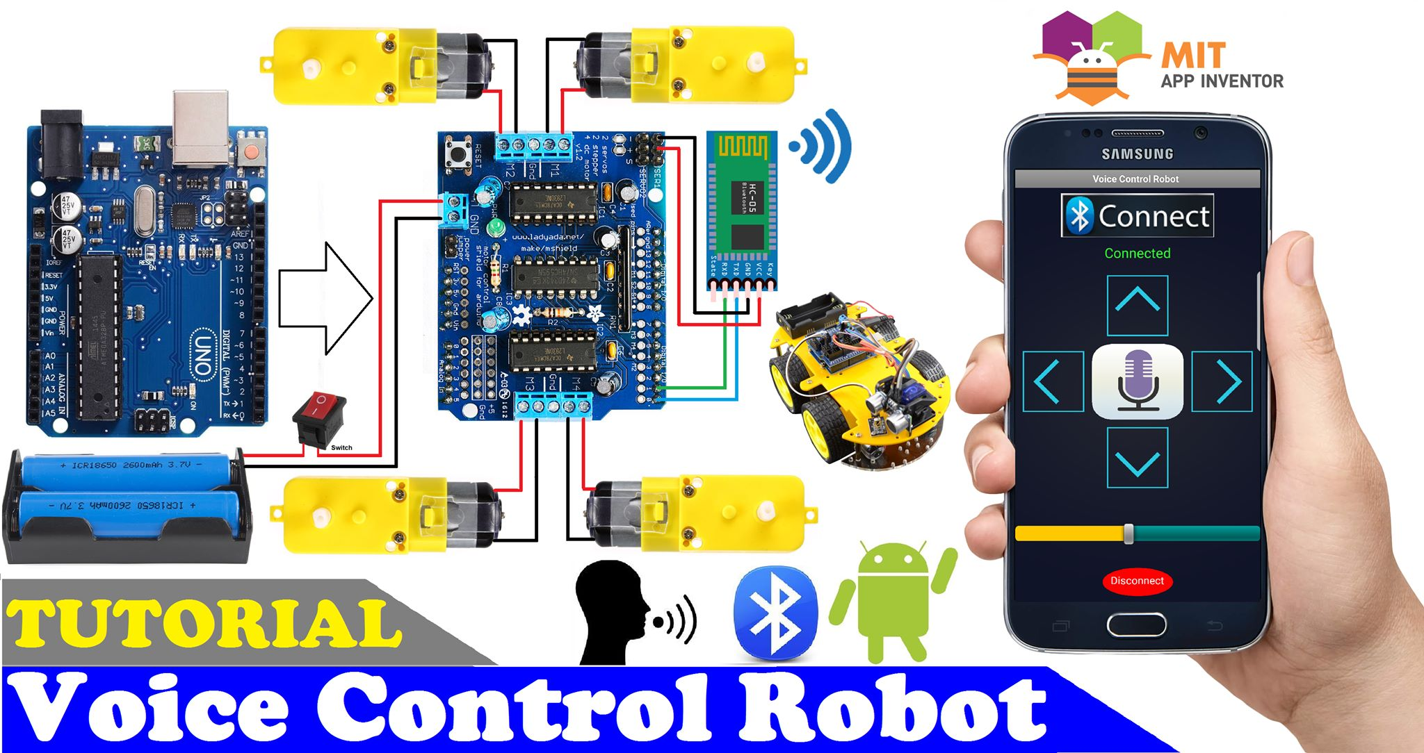 Voice control robot using arduino l293d shield and hc 05 bluetooth module i5gusi7sms