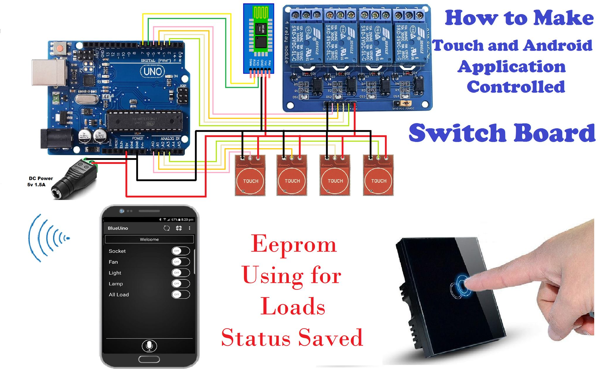 How to make touch and android application controlled switch board using the eeprom for status saved o0amqdnf6j