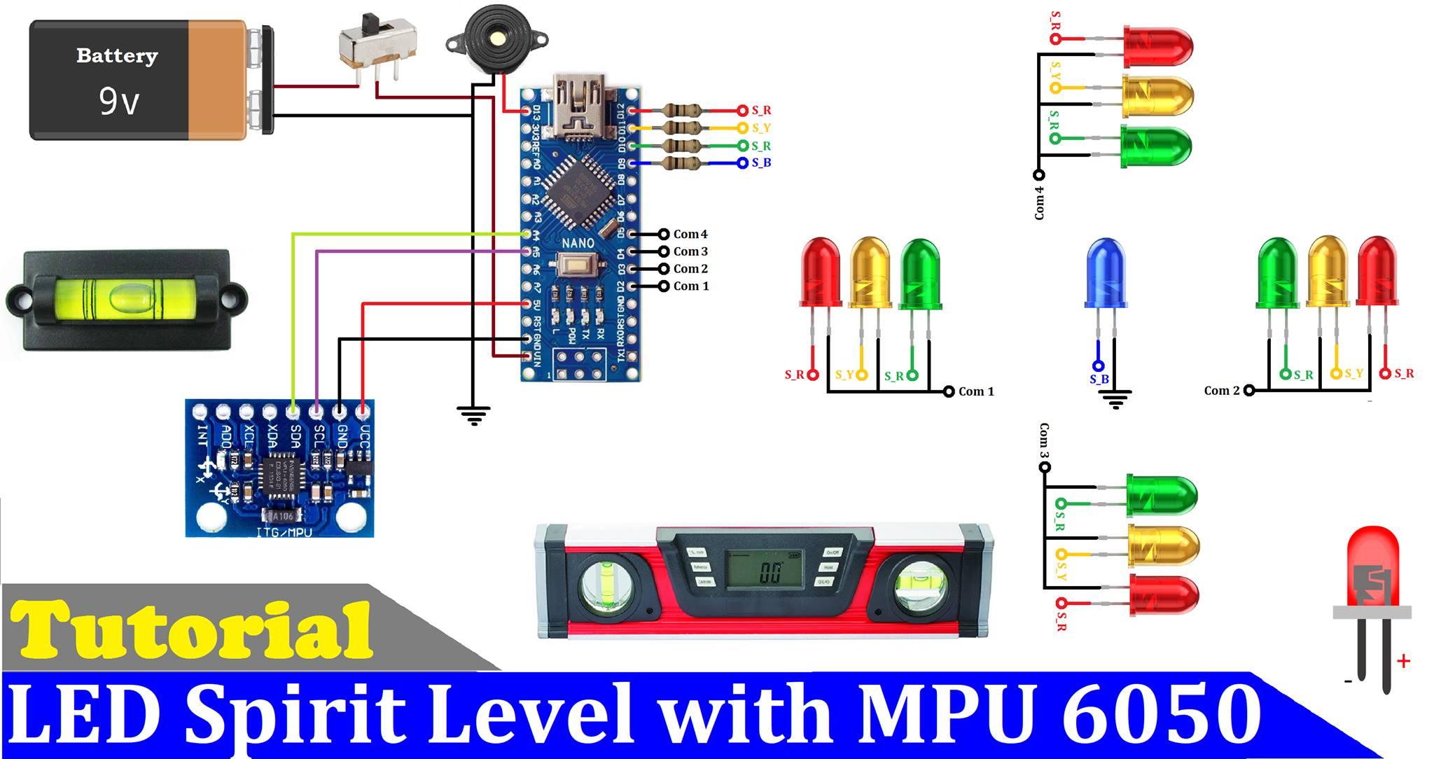 How to make a led spirit level using arduino and mpu6050 sdxjtgx7no