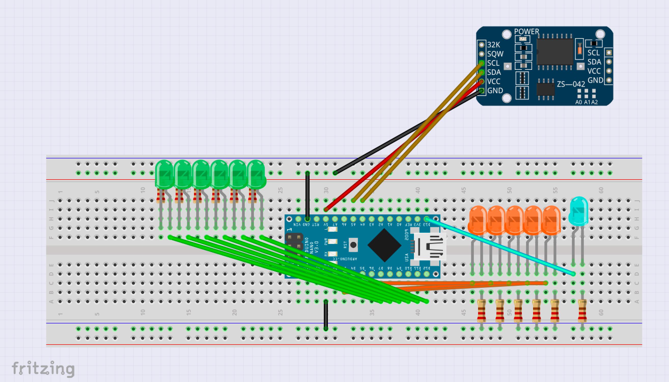 Binary clock prototype fzz   fritzing    breadboard view  i50lb1gyt0