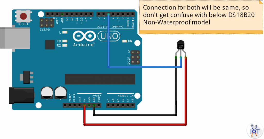 How To Use Ds18b20 Water Proof Temperature Sensor Arduino Project Hub