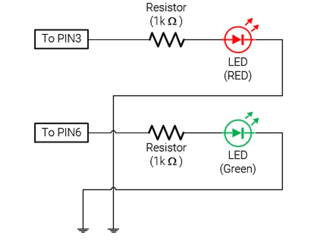 Circuit working with 2leds 3t9mmdobcf