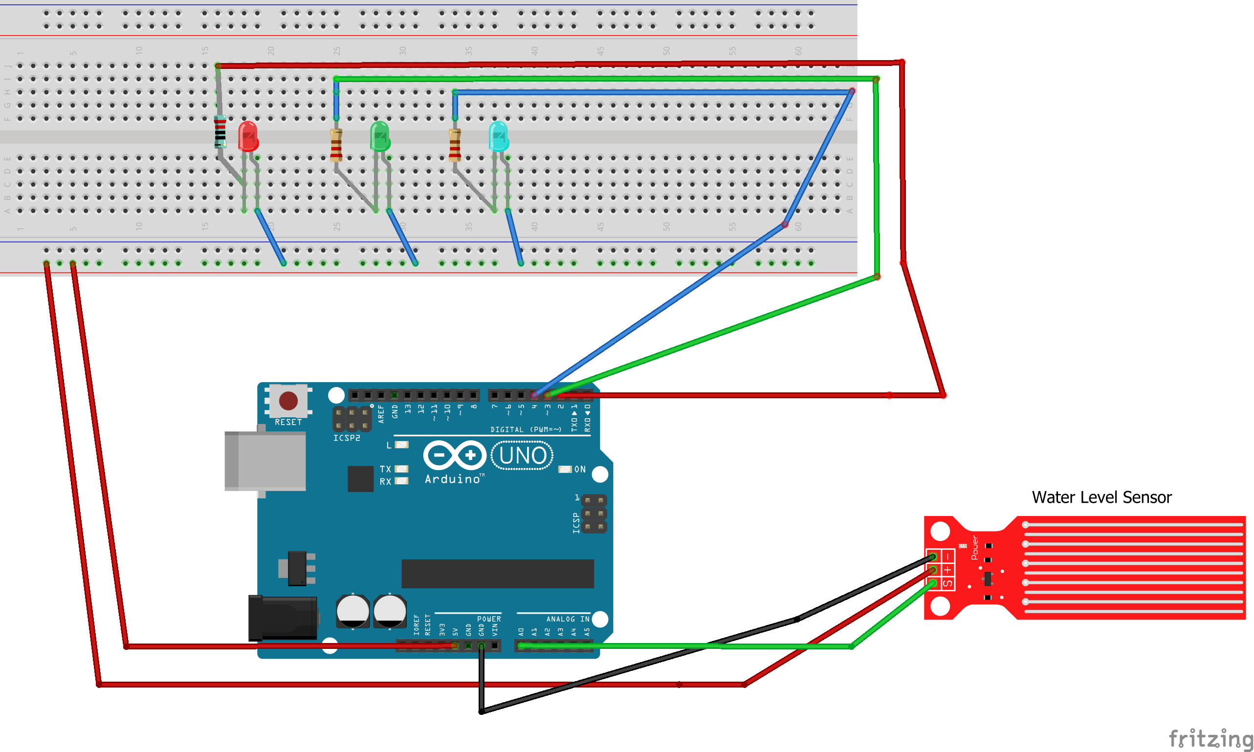 Simple water level sensor with led - Arduino Project Hub