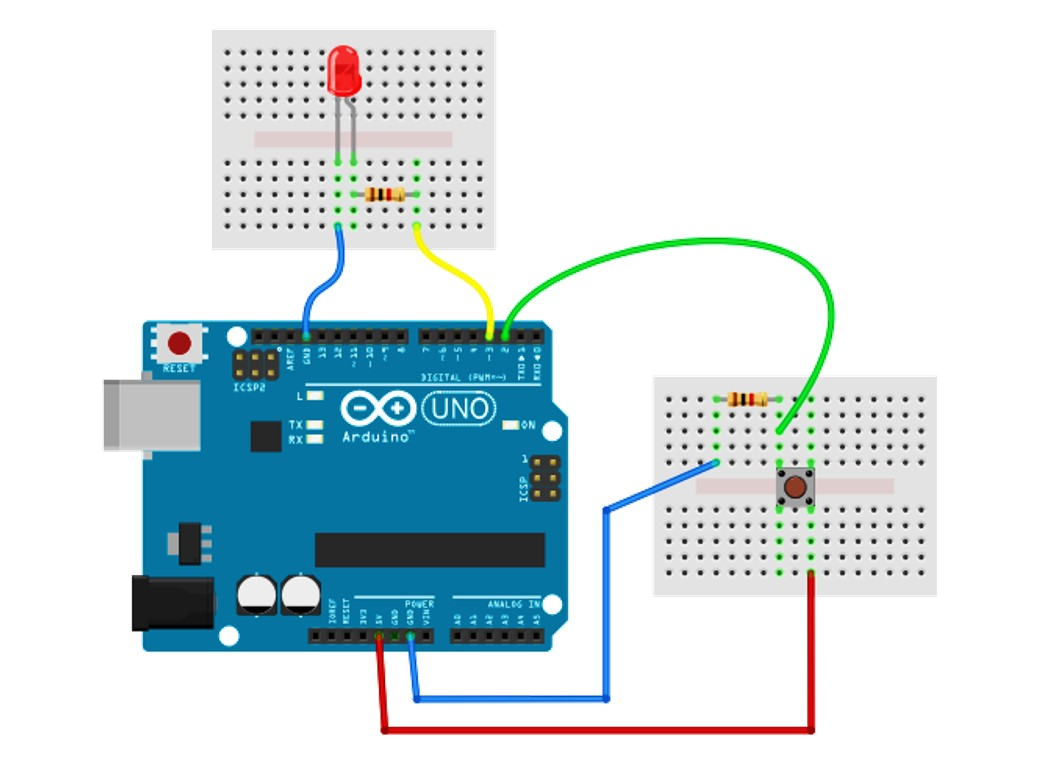 Breadboard working with a push button cpcexatpa6