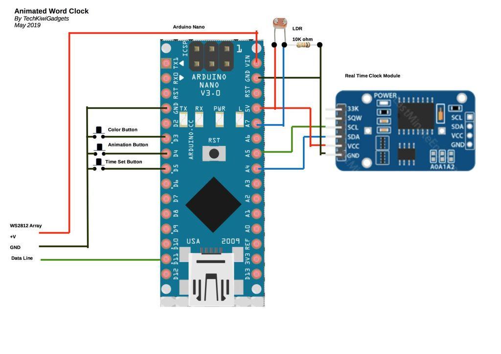 Animated Word Clock - Arduino Project Hub   Ws2182b Arduino Wiring Diagram      Arduino Create