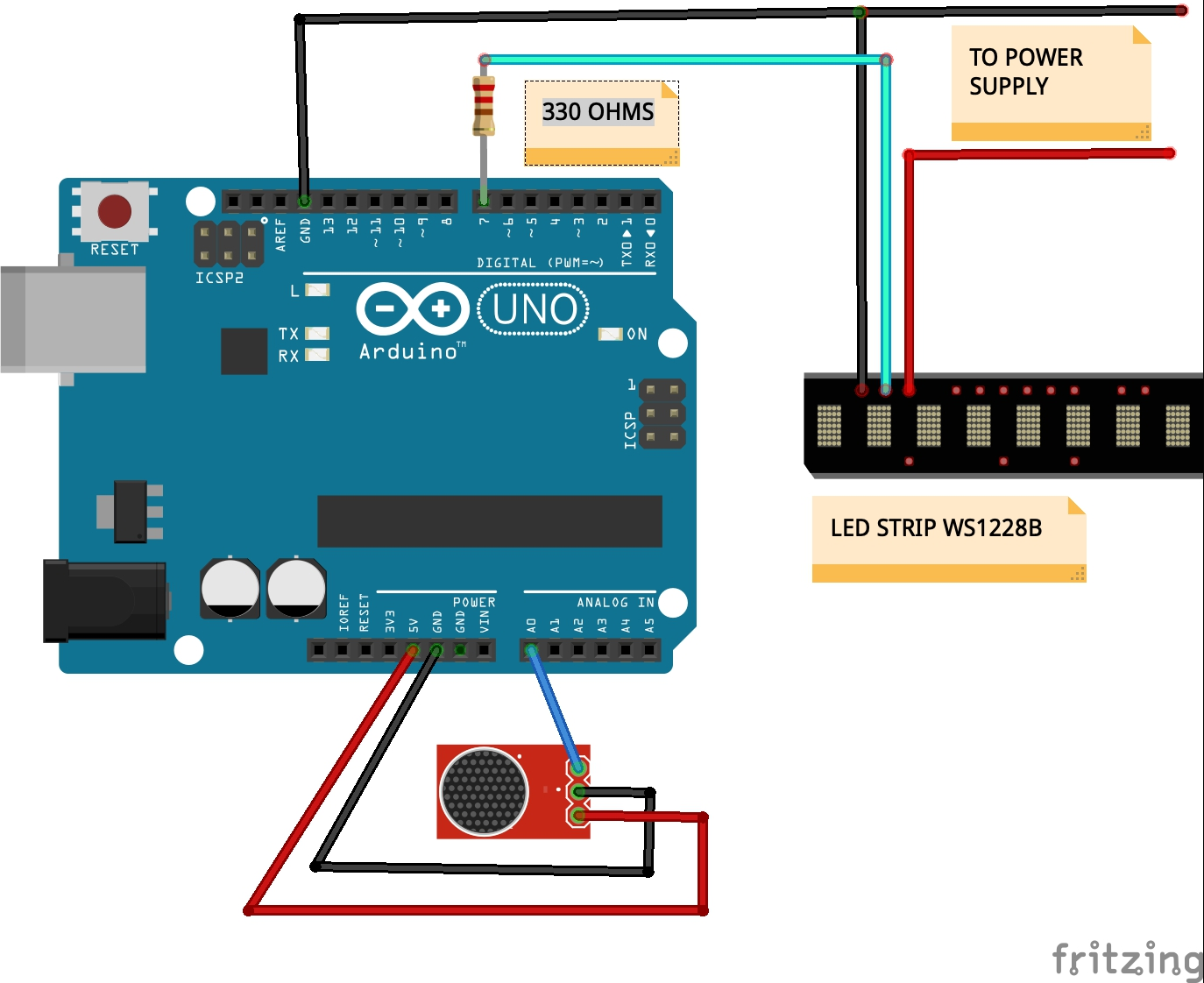 Music Reactive RGB LED Strip WS1228b - Arduino Project Hub   Ws2182b Arduino Wiring Diagram      Arduino Create