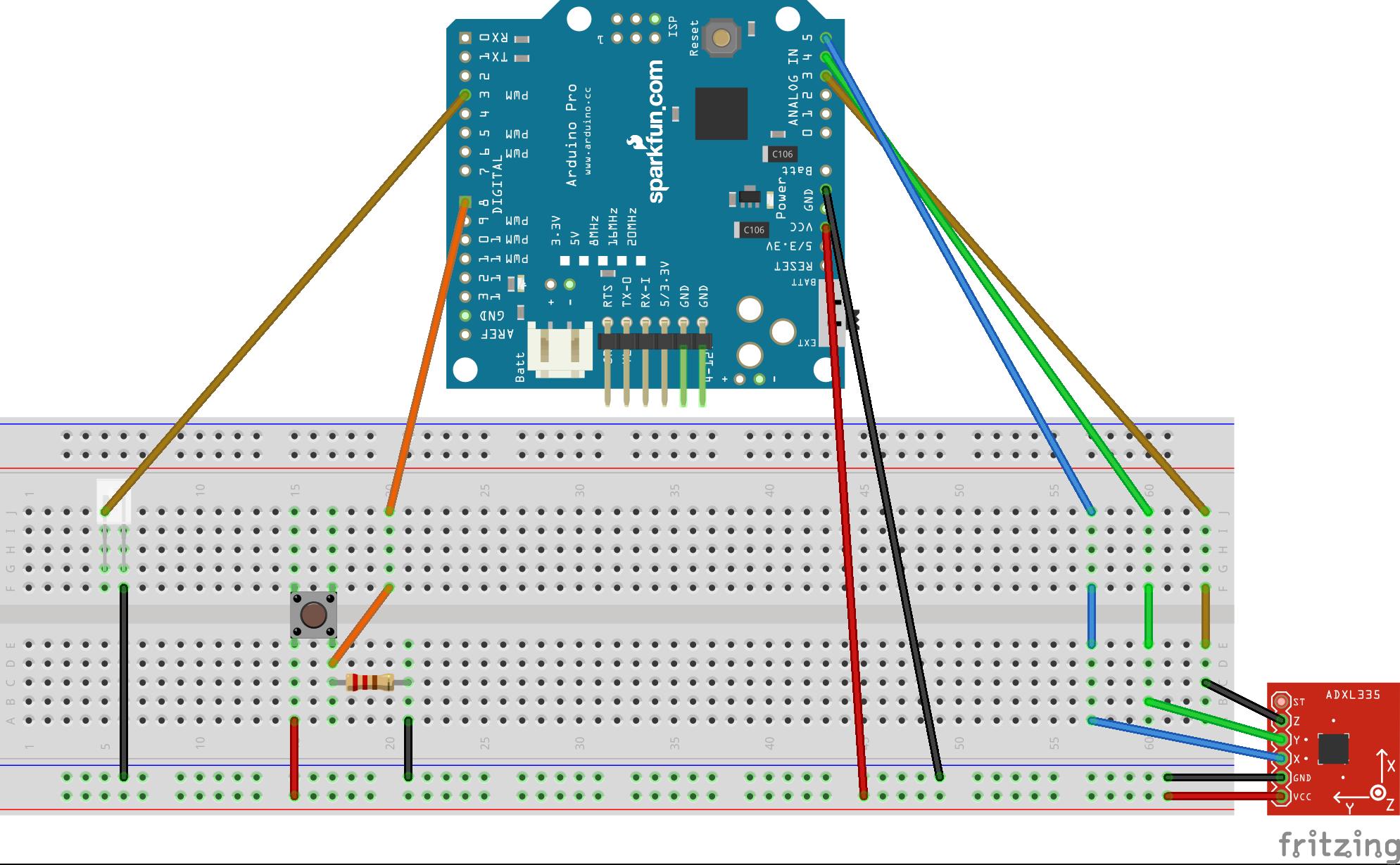 Remotecontrolwithaccelerometer arduinopro bb