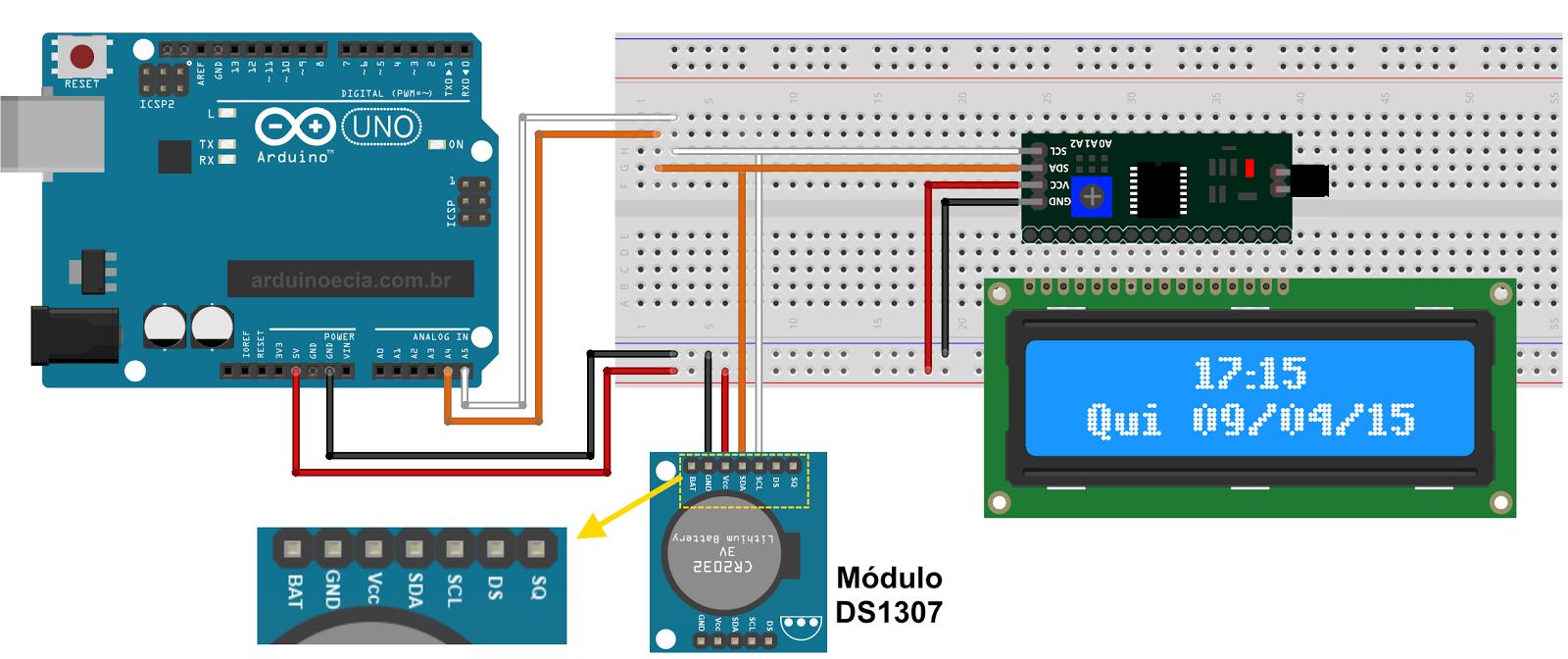 Circuito arduino i2c display lcd 16x2 ds1307